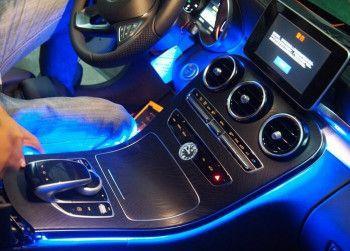 Kit lumina ambientala consola Mercedes Benz C Class W205 GLC albastru Alarme auto si Senzori de parcare