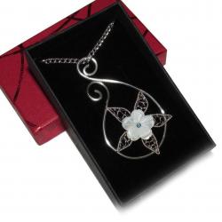 Pandantiv Elven Rose Design Telperion handmade placat argint sidef cristal Swarovski Pandantive si Talismane