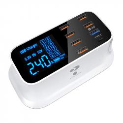 Statie de incarcare A19Q 40W cu 6 x USB 2.0 Qualcom USB 3.0 Fast Charge USB Type-C si display afisaj alb