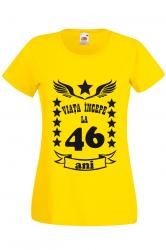 Tricou dama personalizat Fruit of the loom galben Viata incepe la 46 ani M Tricouri dama