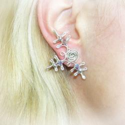 Cercei Elven Rose Design Fulg de Nea handmade placat argint cristale Swarovski Cercei
