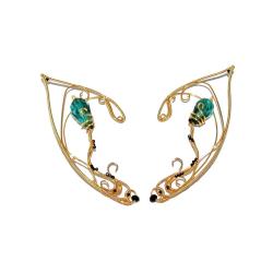 Cercei Urechi de elf Elven Rose Design Elven Healer handmade placat aur cristale sticla Cercei