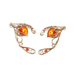 Cercei Urechi de elf Elven Rose Design Heart of Fire handmade placat aur cristale Swarovski Cercei