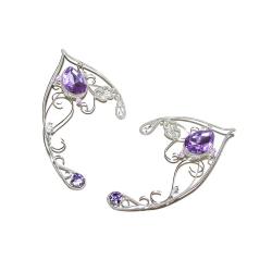 Cercei Urechi de elf Elven Rose Design Lavanda handmade placat argint cristale Cercei