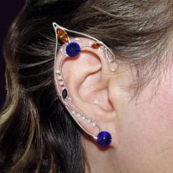 Cercei Urechi de elf Elven Rose Design Purple Night handmade placat argint cristale Swarovski Cercei