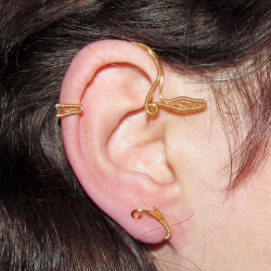 Cercel Ear cuff Elven Rose Design Belle handmade placat aur Cercei