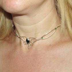 Colier Elven Rose Design Forest Tales handmade placat argint cristale Swarovski Lanturi si Coliere