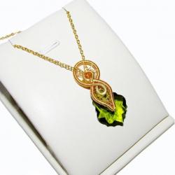 Pandantiv Elven Rose Design Spirit of Nature handmade placat aur cristal Swarovski Pandantive si Talismane