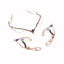 Set bijuterii Elven Rose Design Magic Night handmade urechi de elf tiara cupru cristale Swarovski Seturi