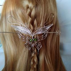 Agrafa de par Elven Rose Design Fluture handmade placat argint cristale Swarovski Accesorii Dama