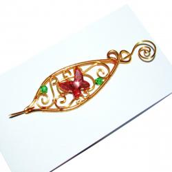 Brosa Elven Rose Design Spring Garden handmade placat aur cristale Swarovski Brose