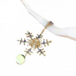 Colier Elven Rose Design Fulg de Nea handmade placat argint cristale Swarovski night glow Lanturi si Coliere