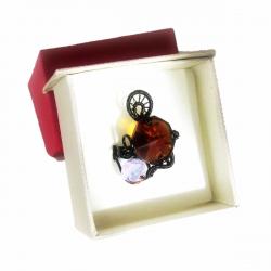 Inel Elven Rose Design Elven Sunset handmade cupru emailat cristal Swarovski Inele