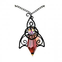 Pandantiv Elven Rose Design Elven Sunset handmade cupru emailat cristal Swarovski Pandantive si Talismane