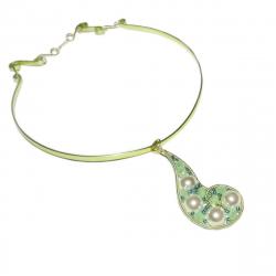Colier Elven Rose Design Povestile Marii handmade cupru champagne perle de cultura Lanturi si Coliere