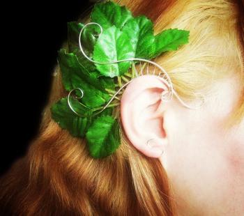 Cercel Ear wrap Elven Rose Design Forest Nymph handmade placat argint Cercei