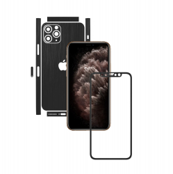 Folie Protectie Carbon Skinz pentru Apple iPhone 11 Pro - CAM CUT - Brushed Negru Split Cut Skin Adeziv Full Body Cover pentru Rama Folii Protectie