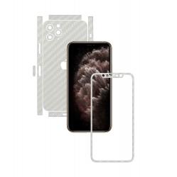 Folie Protectie Carbon Skinz pentru Apple iPhone 11 Pro Max - FULL CUT - Carbon Alb Split Cut Skin Adeziv Full Body Cover pentru Rama Folii Protectie