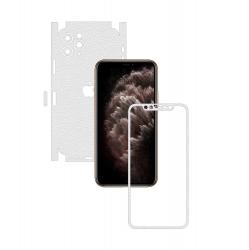 Folie Protectie Carbon Skinz pentru Apple iPhone 11 Pro Max - FULL CUT - Piele Alba 360 Cut Skin Adeziv Full Body Cover pentru Rama Folii Protectie