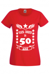 Tricou dama personalizat Fruit of the loom rosu Viata incepe la 50 ani S Tricouri dama