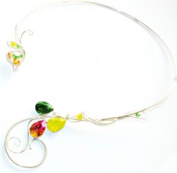Colier Elven Rose Design Hope handmade placat argint cristale Swarovski Lanturi si Coliere