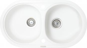 Chiuveta granit Montebella 780x435 mm 2 cuve adanci 200 mm reversibila sifon inclus Angora Alb