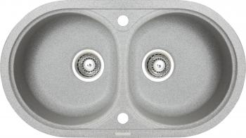 Chiuveta granit Montebella 780x435 mm 2 cuve adanci 200 mm reversibila sifon inclus Chinchilla Gri