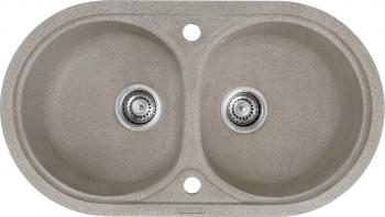 Chiuveta granit Montebella 780x435 mm 2 cuve adanci 200 mm reversibila sifon inclus Puma Bej inchis