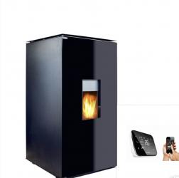 Termosemineu tip centrala termica pe peleti cu agent termic Fornello 25 kW Glass WI-FI cu control prin smartphone echipat cu pompa vas Termoseminee