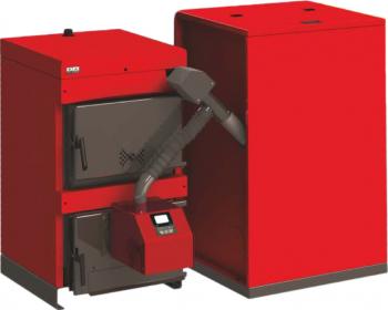 Centrala mixta lemn carbune brichete si peleti Burnit WBS 45 KW cu arzator Peleti Burnit Pell Eco 35 kw snec si buncar peleti 280 kg Centrale pe lemne