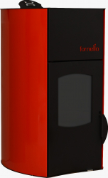 Termosemineu centrala peleti Fornello Fiamma Red 25 kw complet echipat pentru incalzire pompa vas expansiune automatizare telecomanda Termoseminee