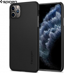 Husa slim Spigen iPhone 11 Pro Max Case Thin Fit Black Huse Telefoane