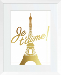 Je taime Paris Tablou decorativ Auriu stralucitor Anais inramat 26x32 cm Tablouri