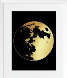 Luna Plina Tablou decorativ colaj auriu stralucitor inramat 24x30 cm Tablouri