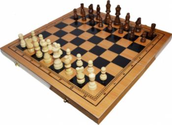 Joc 3 1 - Sah table dame Cutie lemn 40x19cm Jocuri de Societate