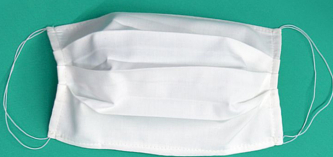 Masca de protectie faciala cu baza nazala maleabila Bumbac 100 Reutilizabila 3 pliuri Alba Masti chirurgicale si reutilizabile