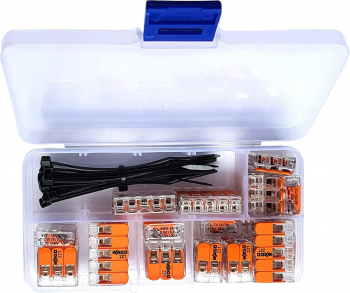Set 25 Conectori Wago 221 Reglete Rapide pentru Conectarea Cablurilor Electrice si 10 Coliere de plastic 80x2 5 Soricei negru