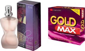 Set Parfum cu Feromoni PheroFem Eau de Toilette 15 ml + o capsula Goldmax women - pink Parfumuri Unisex