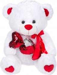 Ursulet de plus alb cu labe albe 3 inimioare rosii cu paiete reversibile