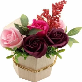Aranjament floral Sevirox Decor cu 5 trandafiri din sapun ciclam mov pruna roz Flori si Aranjamente florale