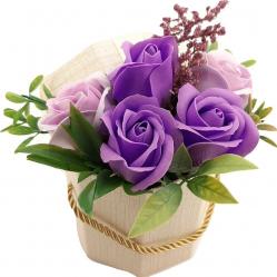 Aranjament floral Sevirox Decor cu 5 trandafiri din sapun Mov Mov pal Flori si Aranjamente florale