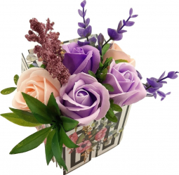 Aranjament floral Sevirox Decor cu 5 trandafiri din sapun Mov Piersicuta Flori si Aranjamente florale