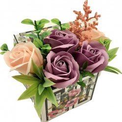 Aranjament floral Sevirox Decor cu 5 trandafiri din sapun mov pudra piersicuta Flori si Aranjamente florale