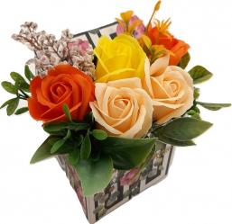 Aranjament floral Sevirox Decor cu 5 trandafiri din sapun portocaliu piersica galben Flori si Aranjamente florale