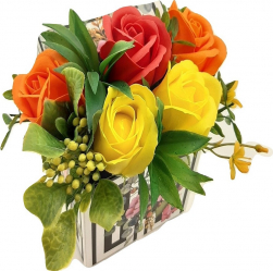 Aranjament floral Sevirox Decor cu 5 trandafiri din sapun Rosu portocaliu galben Flori si Aranjamente florale
