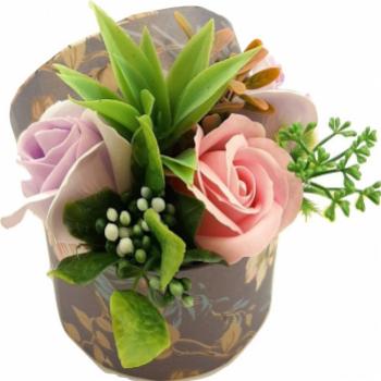 Aranjament floral Sevirox Decor cu trandafiri din sapun Mov pal roz pal Flori si Aranjamente florale