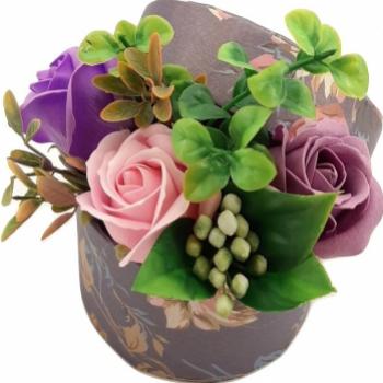 Aranjament floral Sevirox Decor cu trandafiri din sapun Mov roz Flori si Aranjamente florale