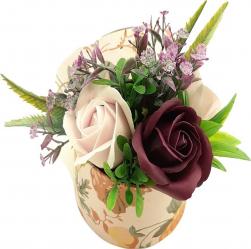 Aranjament floral Sevirox Decor cu trandafiri din sapun roz pal si mov pruna Flori si Aranjamente florale