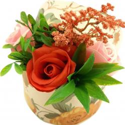Aranjament floral Sevirox Decor cu trandafiri din sapun roz rosu Flori si Aranjamente florale