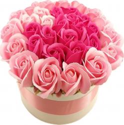 Aranjament floral Valentines Sevirox Decor cu 32 trandafiri din sapun Roz Ciclam Flori si Aranjamente florale